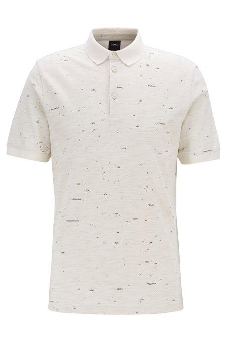Printed polo shirt in slub piqué, Light Beige