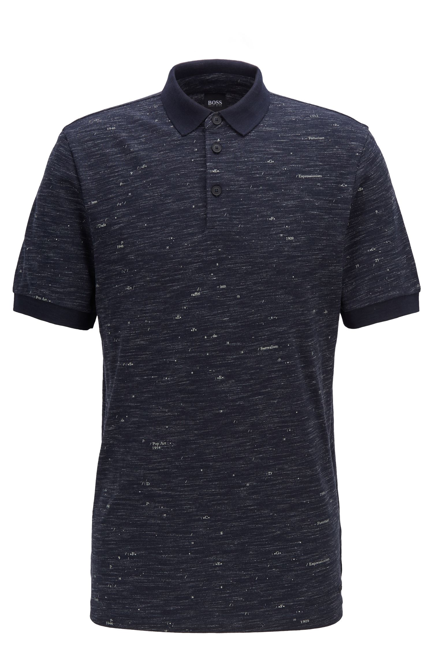 Bedrucktes Poloshirt aus strukturiertem Piqué, Dunkelblau
