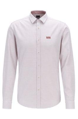 Camicia slim fit in cotone con dettagli sulle cuciture laterali, Grigio chiaro