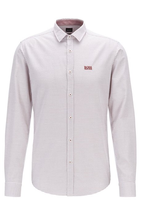 Slim-fit shirt in cotton with side-seam detailing, Light Grey