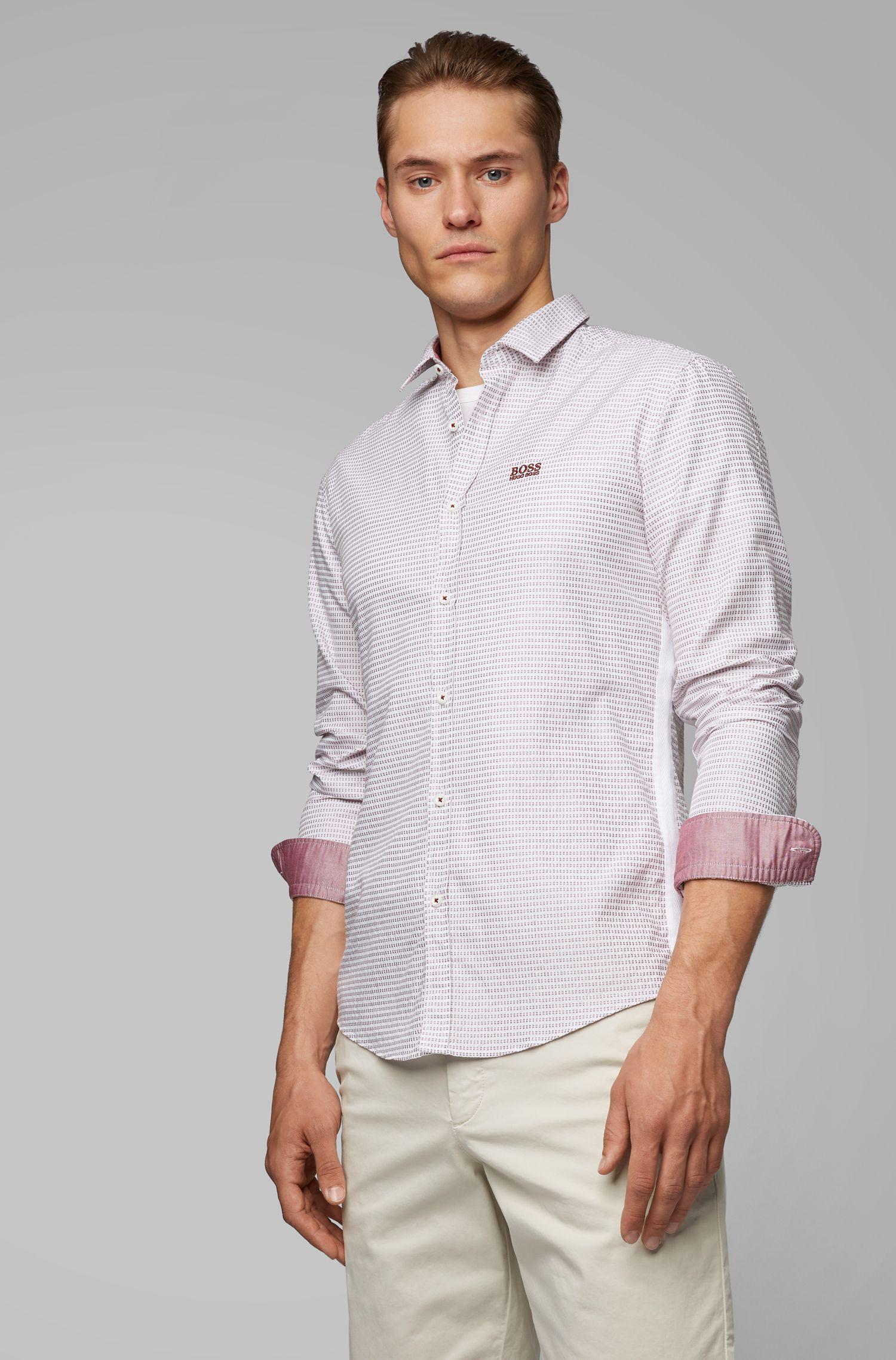 Chemise en coton Slim Fit ornée de détails sur les coutures latérales, Gris chiné