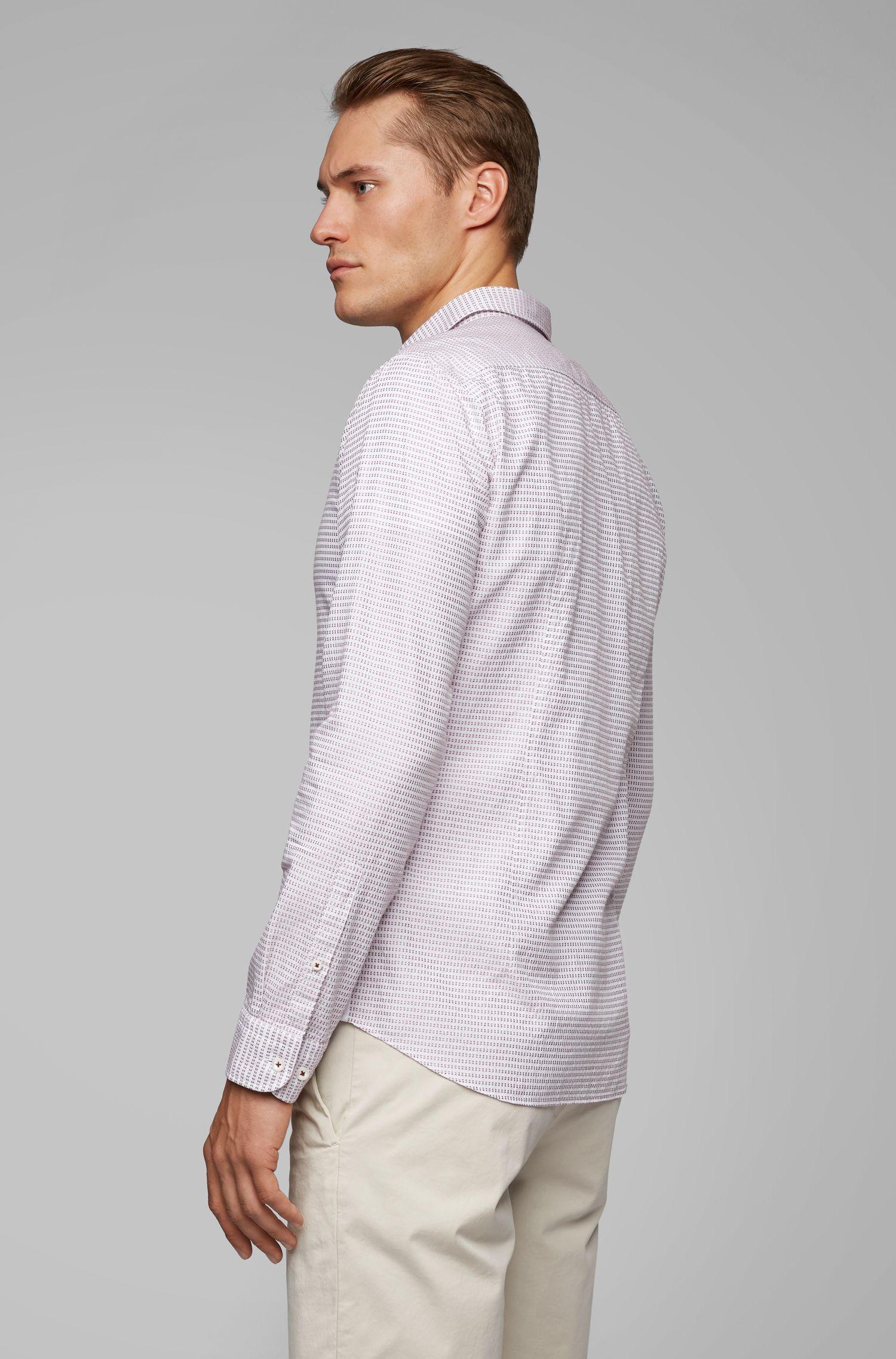 Slim-Fit Hemd aus Baumwolle mit seitlichen Details, Hellgrau