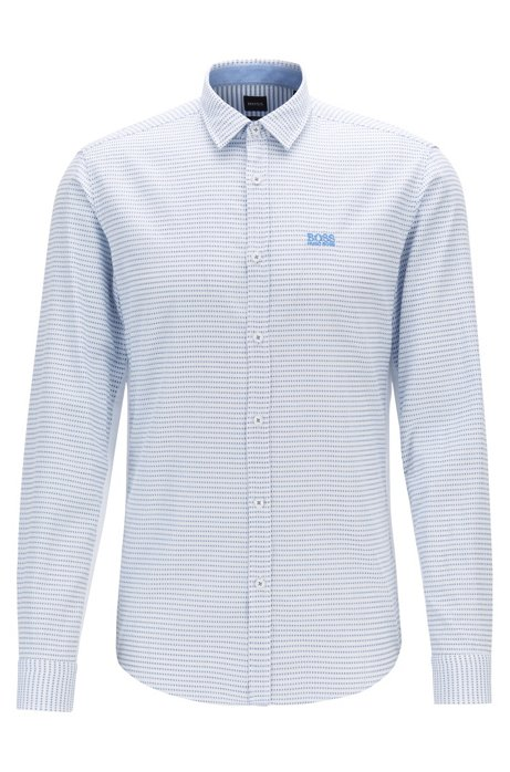 Slim-fit shirt in cotton with side-seam detailing, Blue