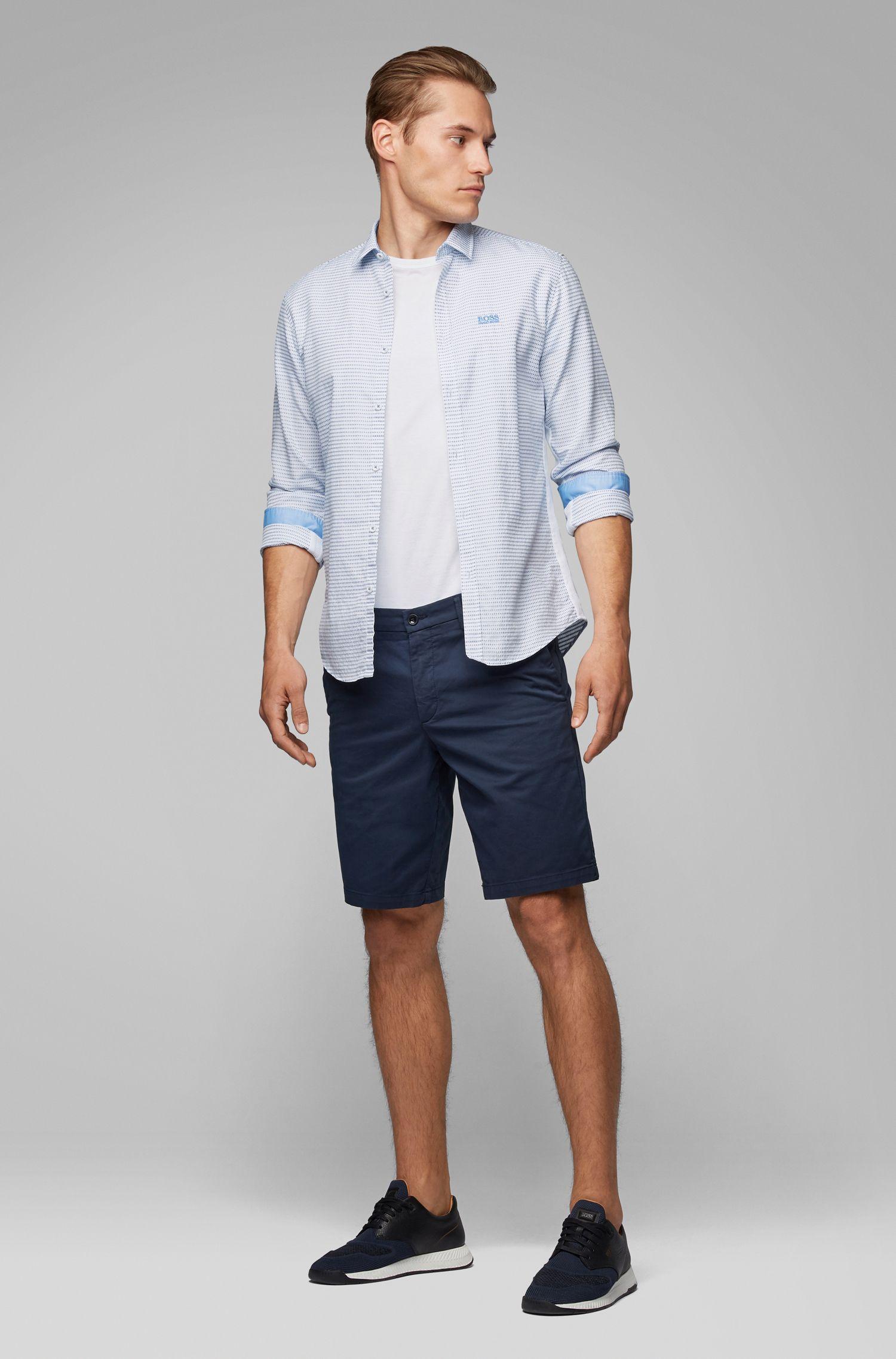 Camicia slim fit in cotone con dettagli sulle cuciture laterali, Blu