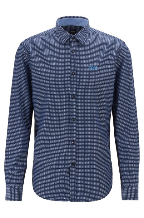 Slim-fit shirt in cotton with side-seam detailing, Patterned