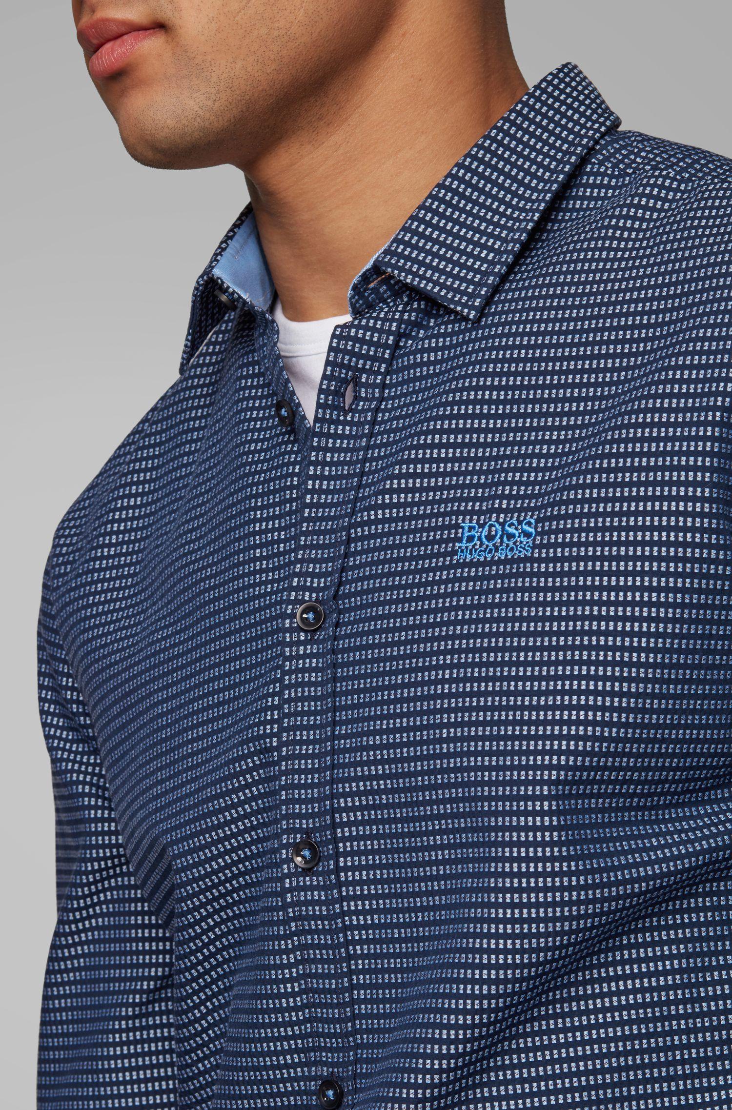 Chemise en coton Slim Fit ornée de détails sur les coutures latérales, Fantaisie