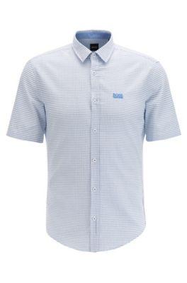 Camicia slim fit a maniche corte in cotone dobby con rifiniture elasticizzate, Blu