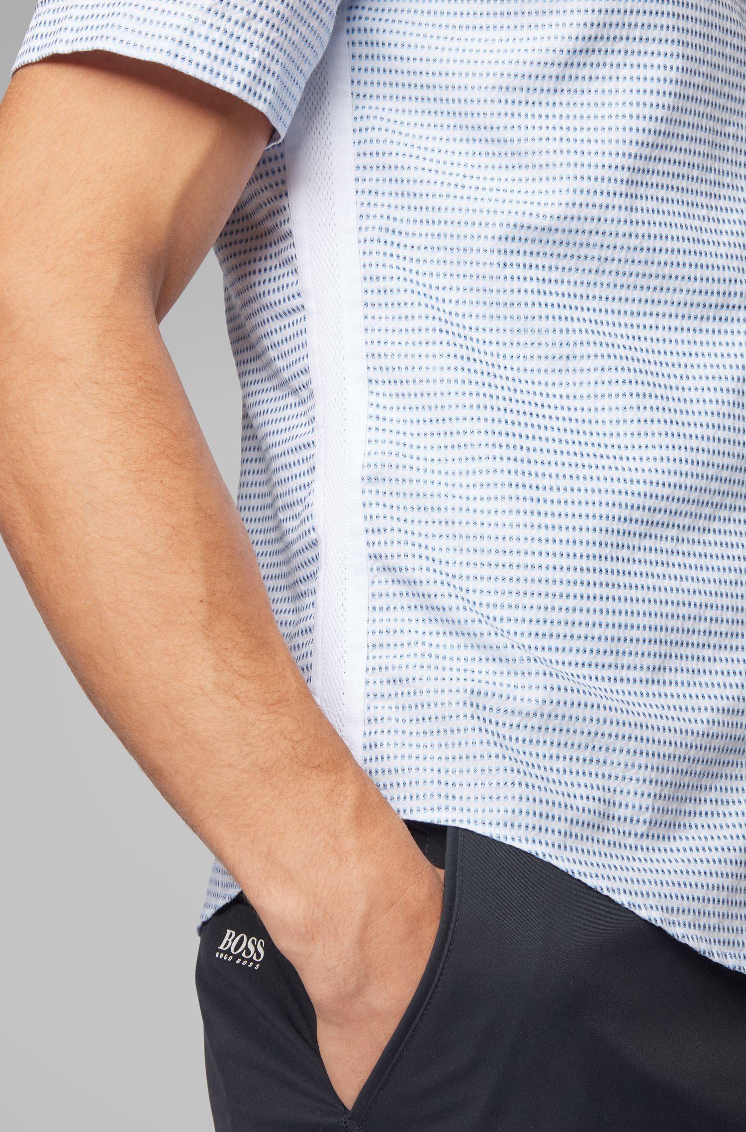 Chemise Slim Fit à manches courtes en coton façonné avec finitions élastiques, Bleu