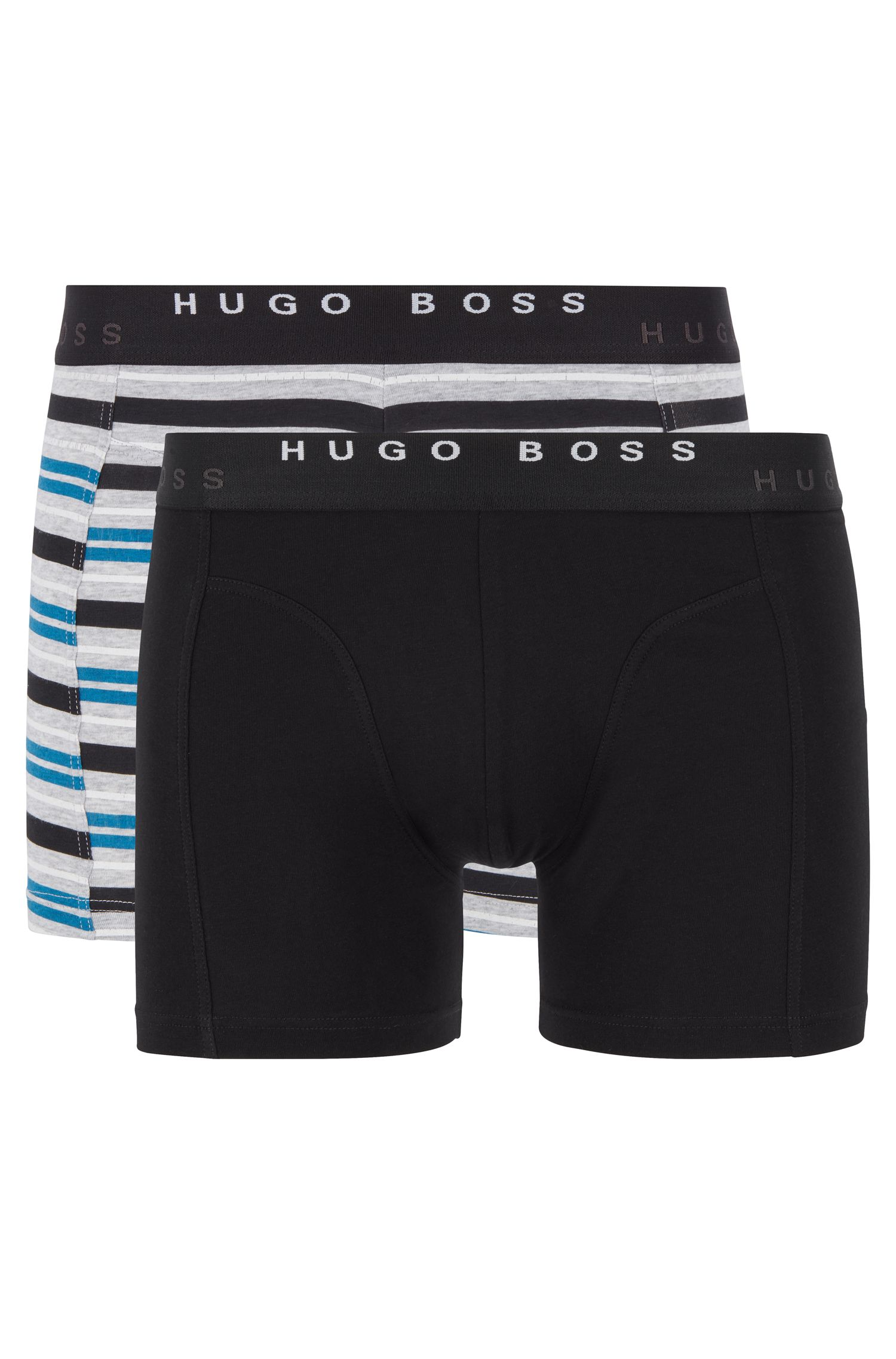 Two-pack of boxer briefs with logo waistbands, Turquoise