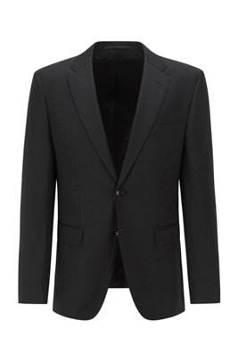 Regular-fit jacket in virgin-wool serge, Black