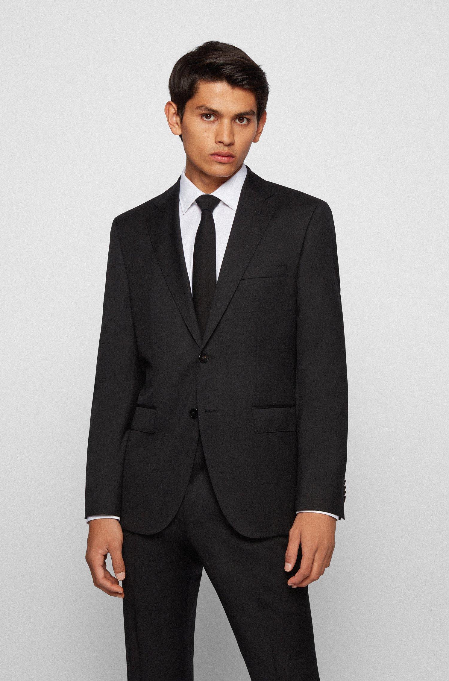 Regular-fit jacket in virgin-wool serge, Black