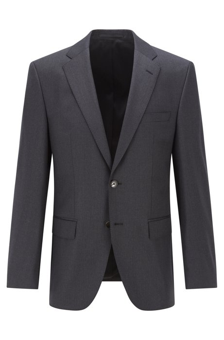 Regular-fit jacket in melange virgin wool, Dark Grey