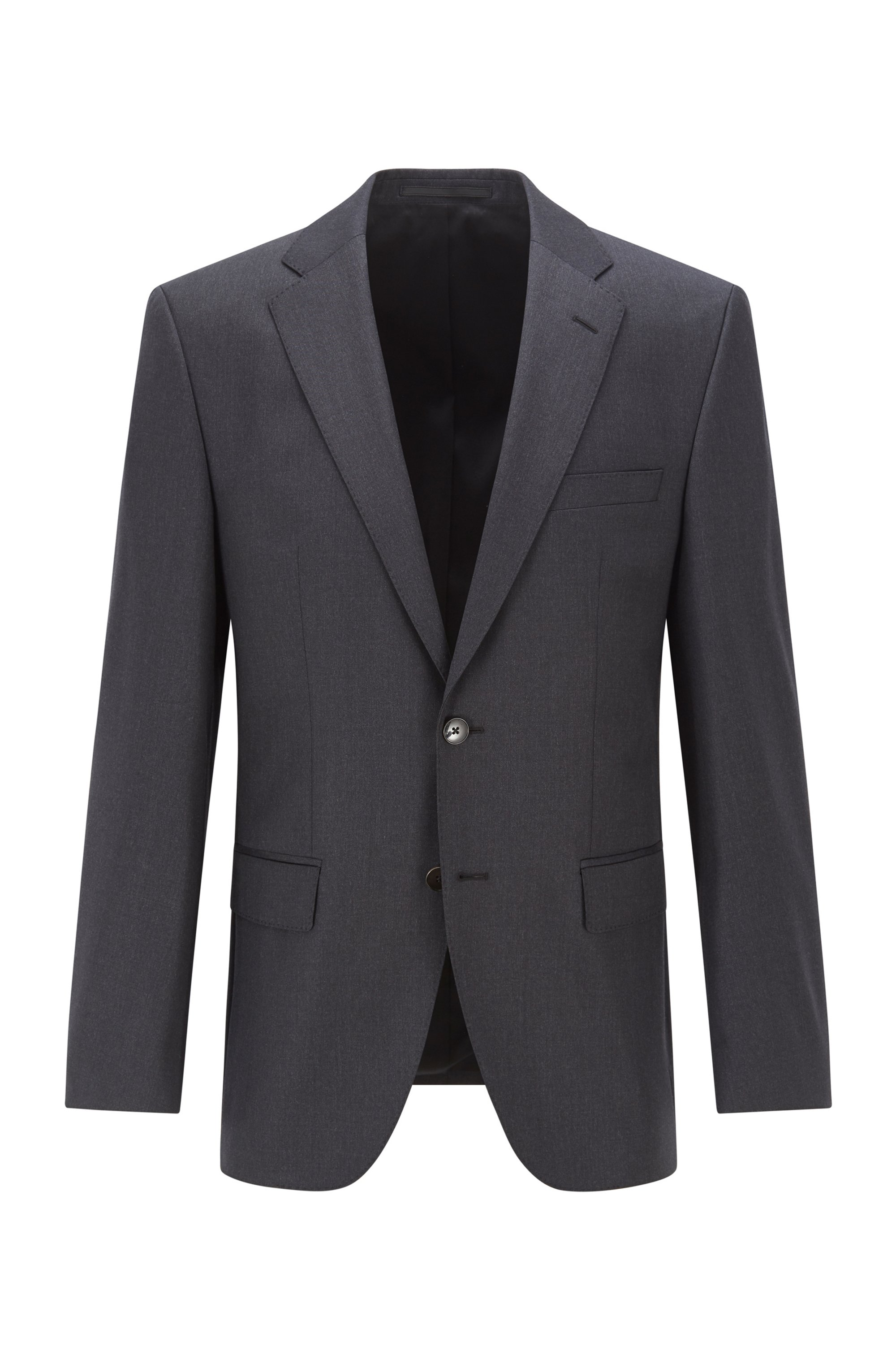 Regular-fit jacket in virgin-wool serge, Dark Grey