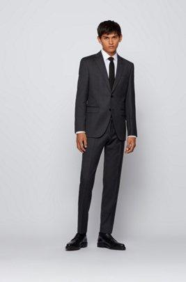 Regular-fit jacket in virgin-wool serge, Dark Grey