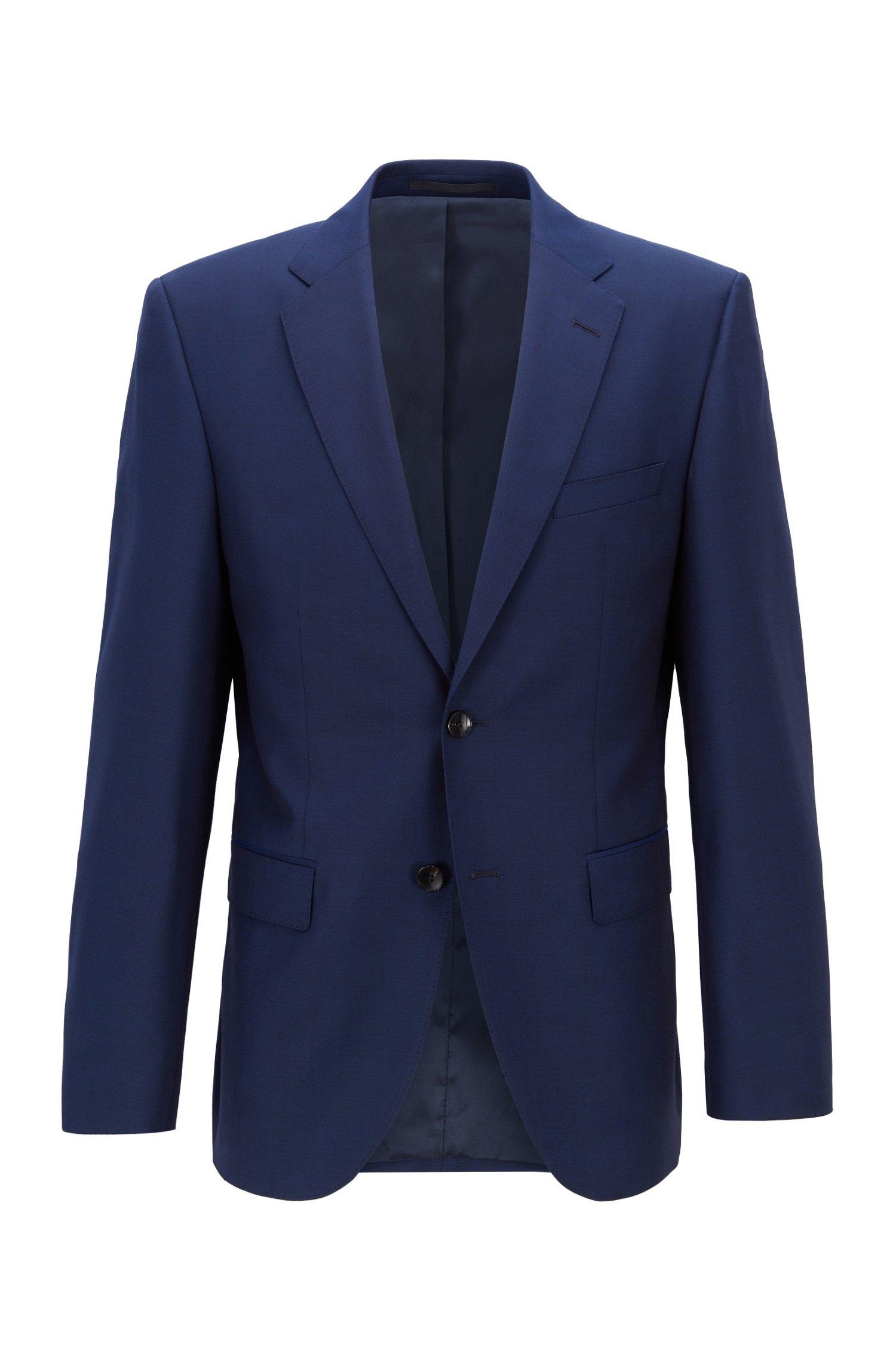 Regular-fit jacket in virgin-wool serge, Dark Blue