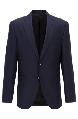 Veste Regular Fit en laine vierge chinée, Bleu foncé