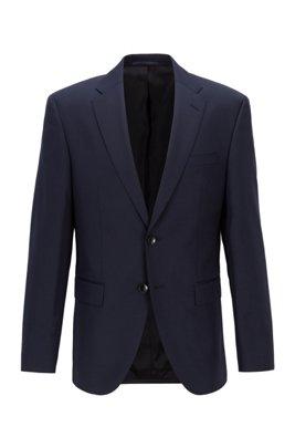 Chaqueta regular fit en sarga de lana virgen, Azul oscuro