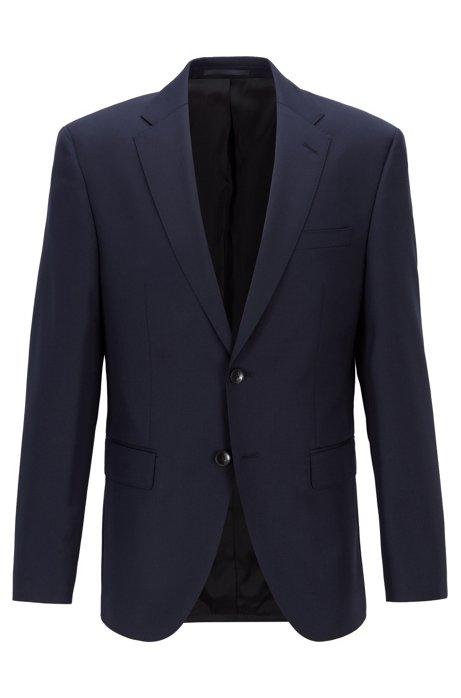 Regular-fit jacket in melange virgin wool, Dark Blue