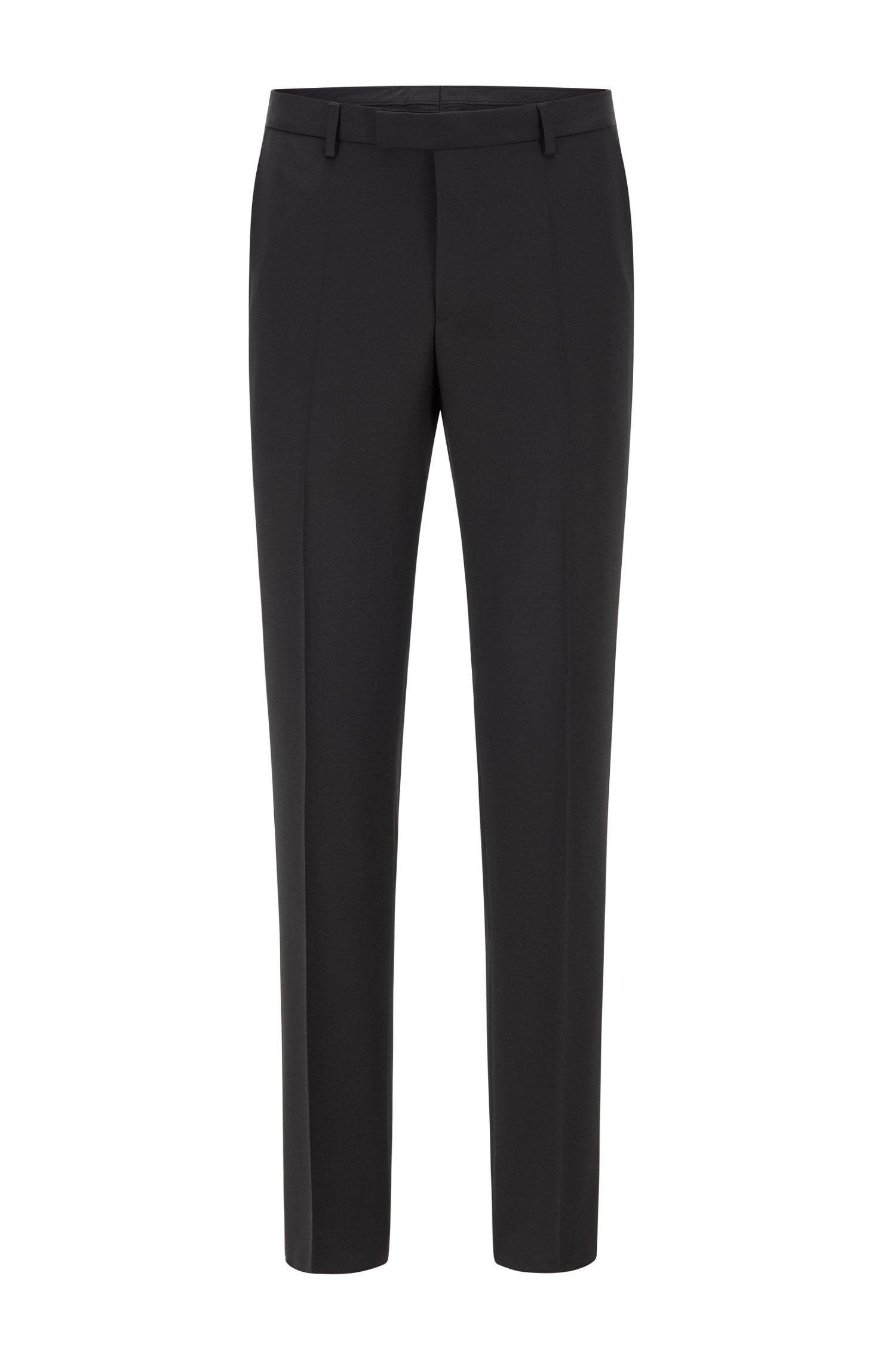 Regular-fit melange trousers in virgin wool , Black