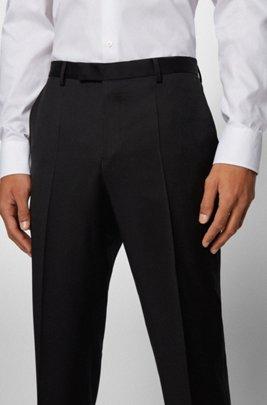 Regular-fit broek van gemêleerde scheerwol , Zwart