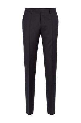 Regular-fit melange trousers in virgin wool , Dark Grey