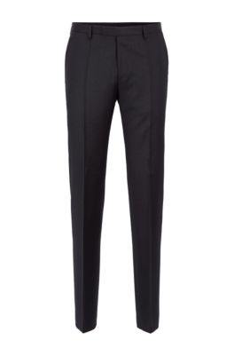 Regular-fit broek van gemêleerde scheerwol , Donkergrijs
