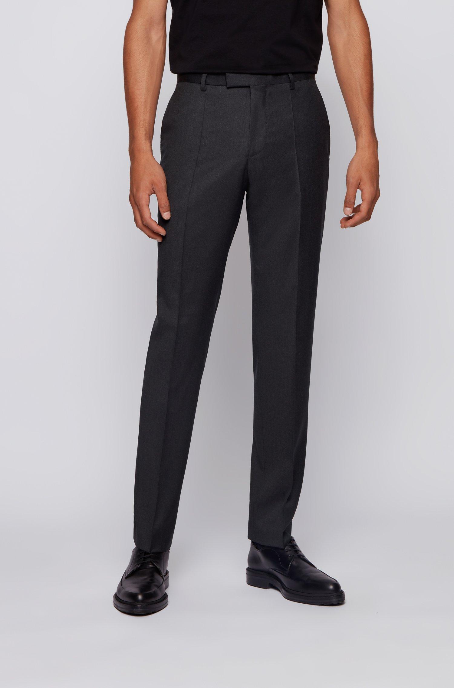 Regular-fit melange trousers in virgin wool , Dark Grey