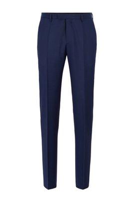 Regular-fit broek van gemêleerde scheerwol , Blauw