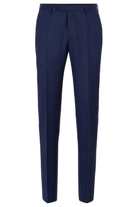Pantalon Regular Fit en sergé de laine vierge, Bleu foncé