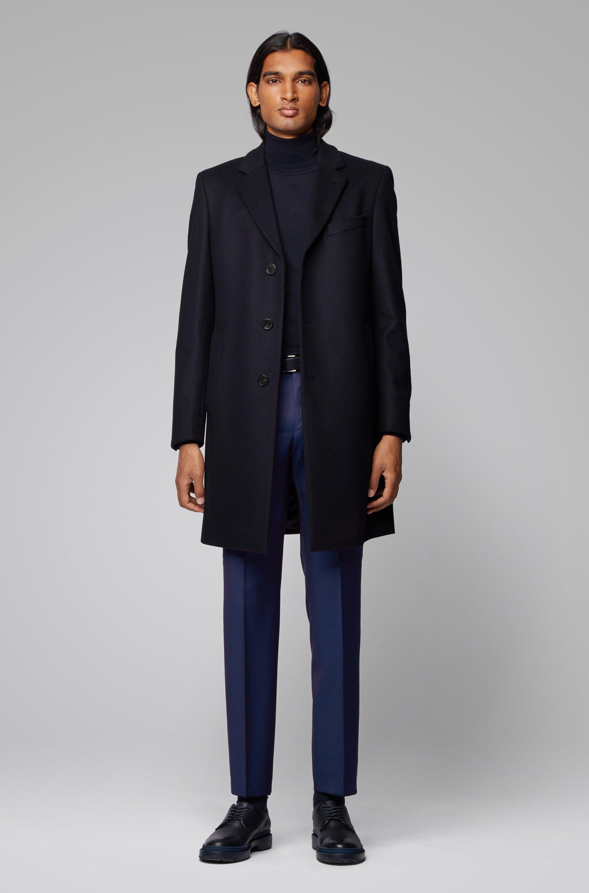 Regular-fit melange trousers in virgin wool