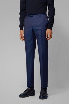 Pantalones jaspeados regular fit en lana virgen , Azul