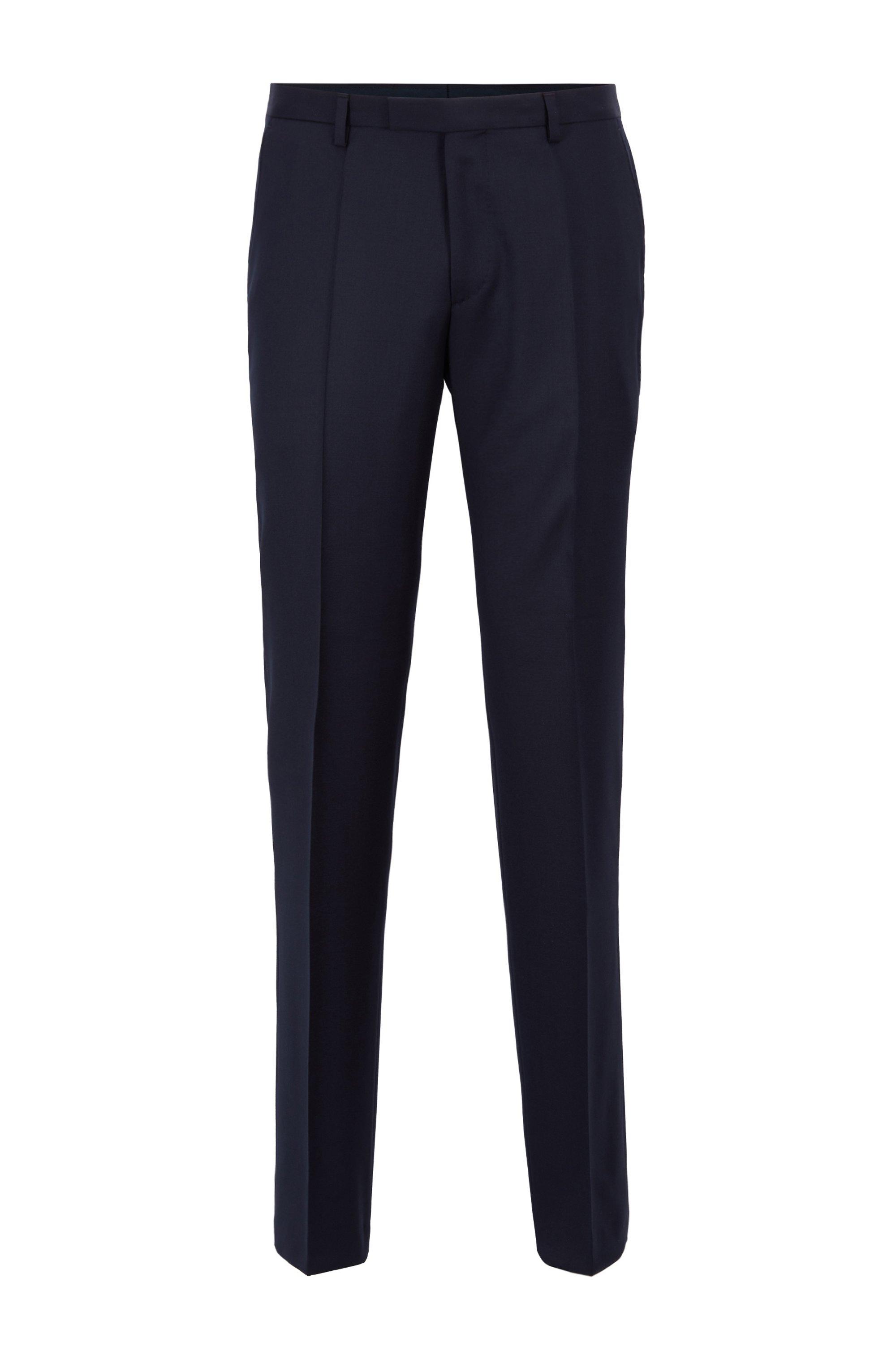 Pantalones jaspeados regular fit en lana virgen , Azul oscuro