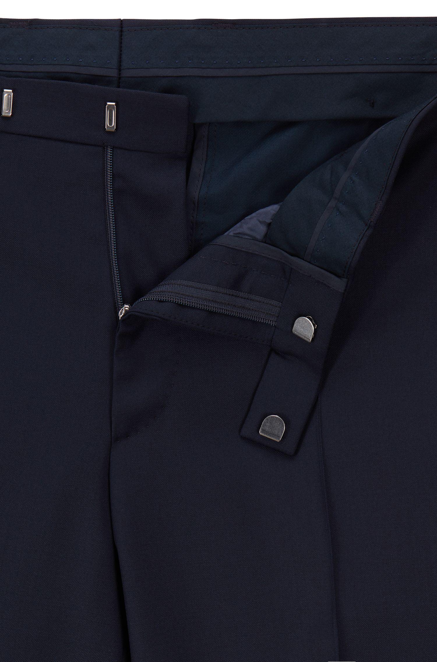 Regular-Fit Hose aus melierter Schurwolle, Dunkelblau