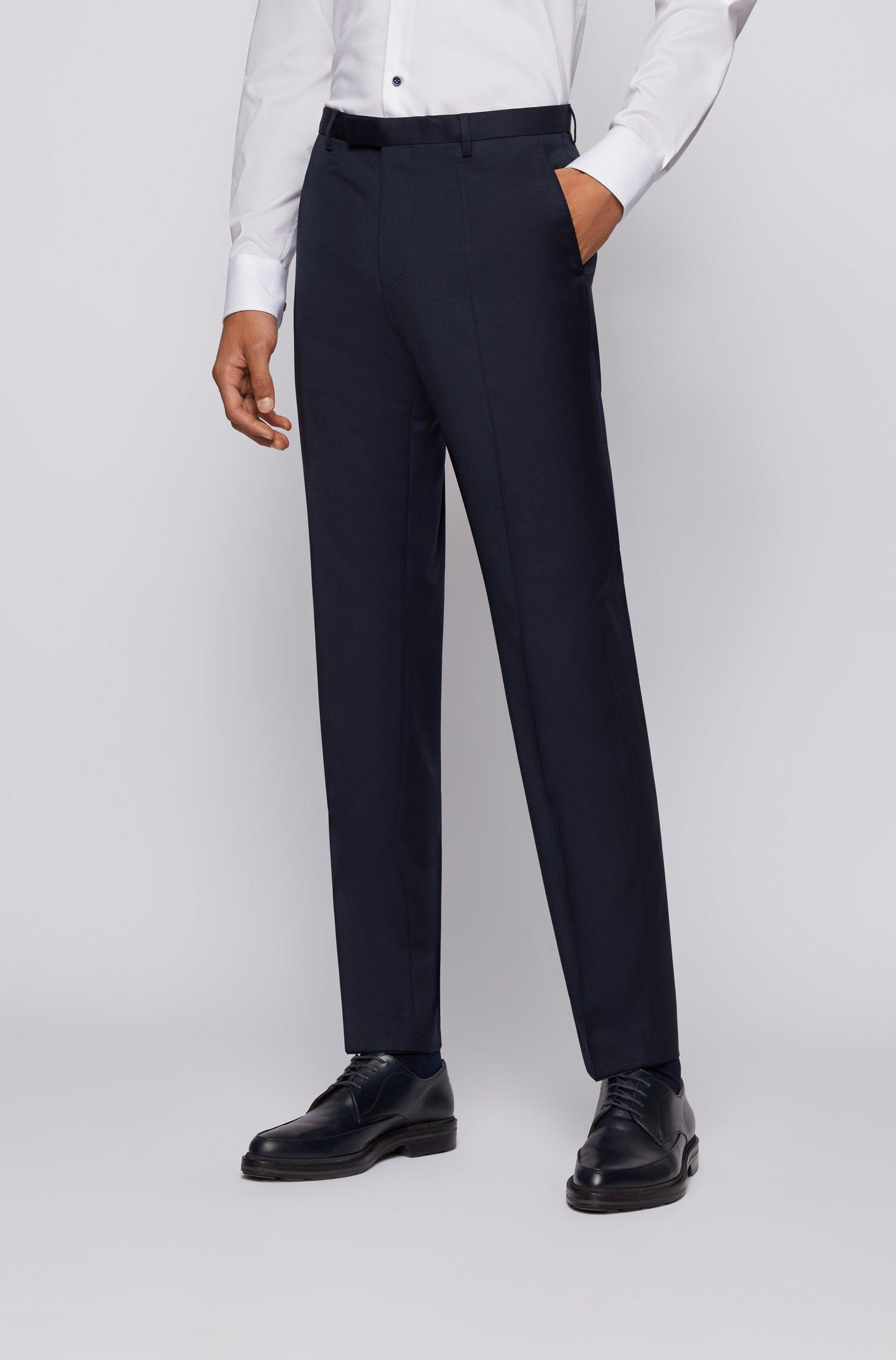 Regular-fit melange trousers in virgin wool , Dark Blue