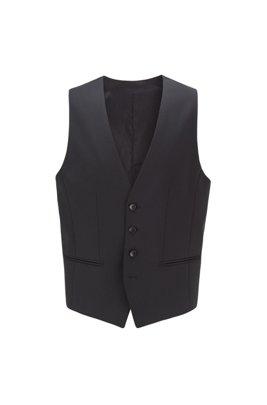 Slim-fit waistcoat in melange wool with natural stretch, Black