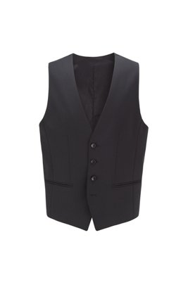 Slim-fit waistcoat in melange wool with natural stretch, Black