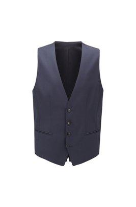 Chaleco slim fit en lana jaspeada con elástico natural, Azul