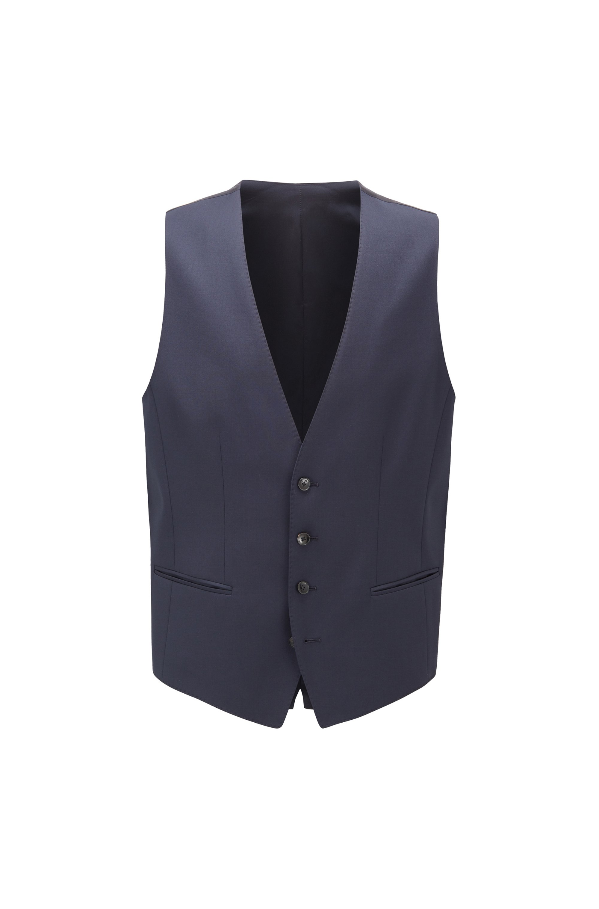 Slim-fit waistcoat in melange wool with natural stretch, Blue