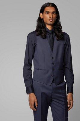 Melierte Slim-Fit Weste aus natürlich elastischer Wolle, Blau