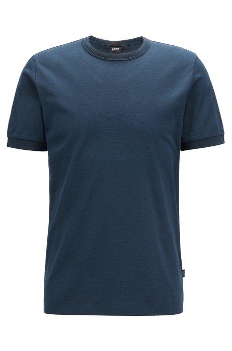 Slim-fit T-shirt in creamy-touch mouliné cotton, Blue