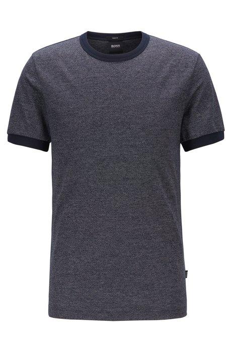Slim-fit T-shirt in creamy-touch mouliné cotton, Dark Blue