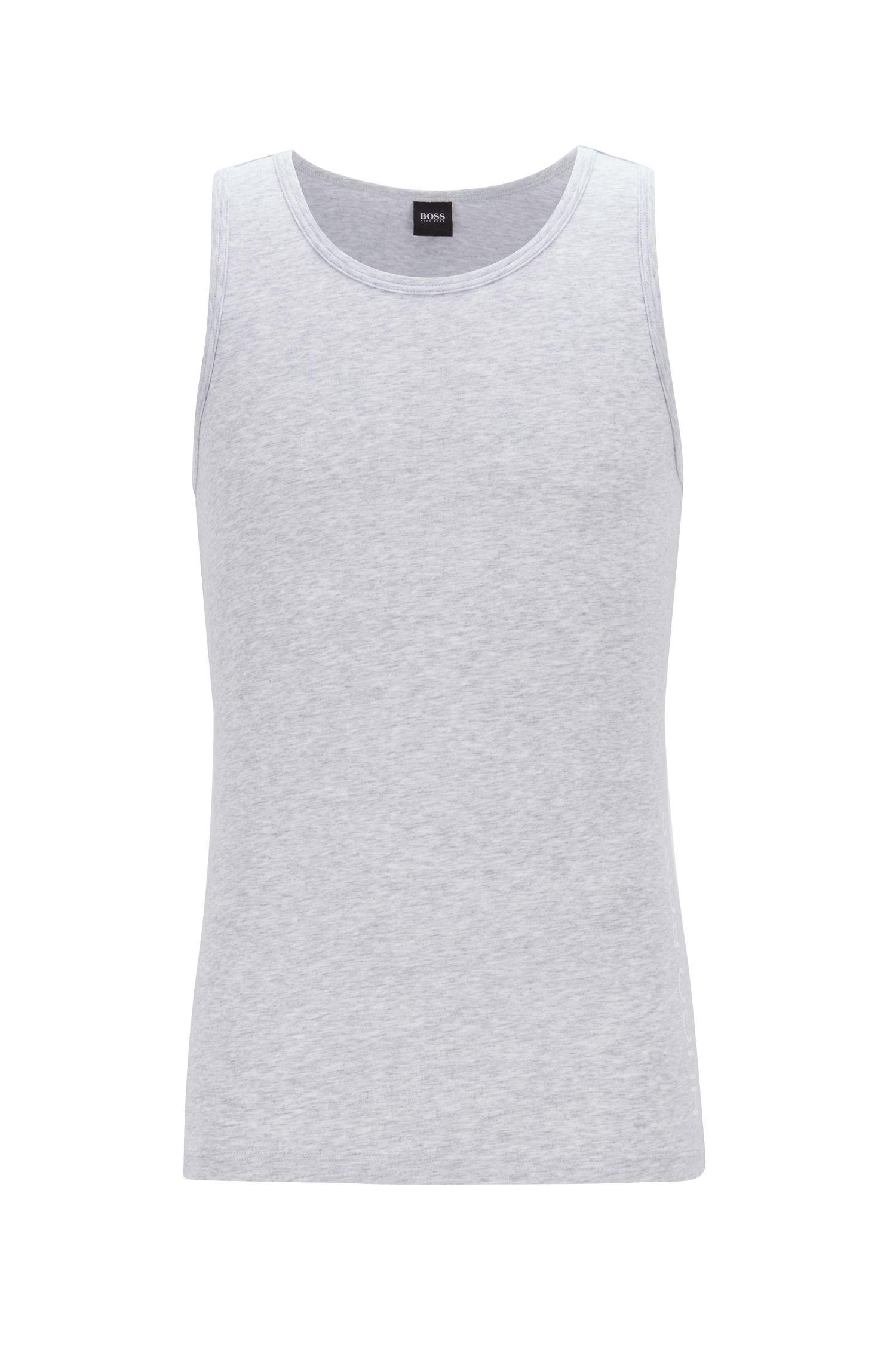 Slim-fit underwear vest with contrast cut-logo print, Silver