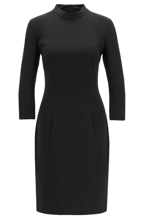 Pencil dress in crease-resistant Japanese crepe, Black