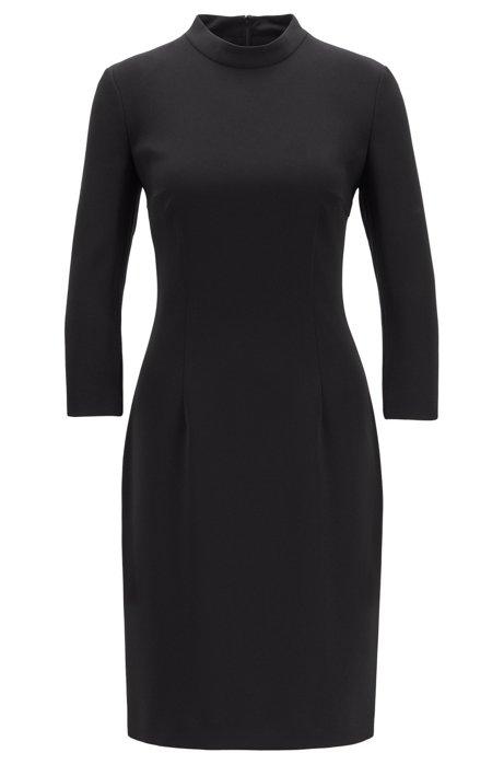 Pencil dress in crease-resistant Japanese crepe, Black