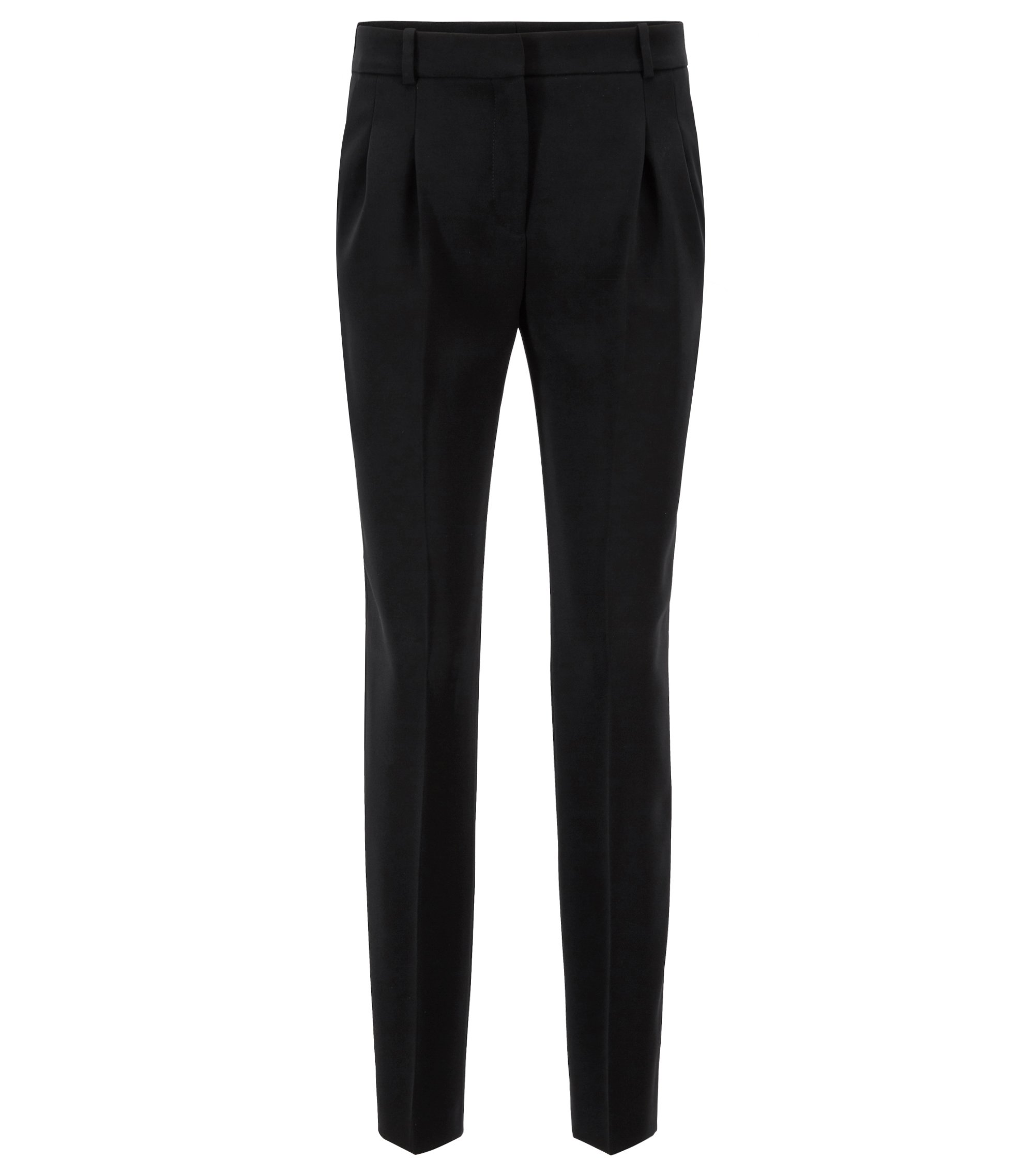 Regular-fit trousers in crease-resistant crepe, Schwarz