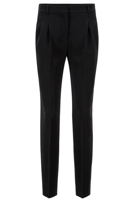 Regular-fit trousers in crease-resistant crepe, Black