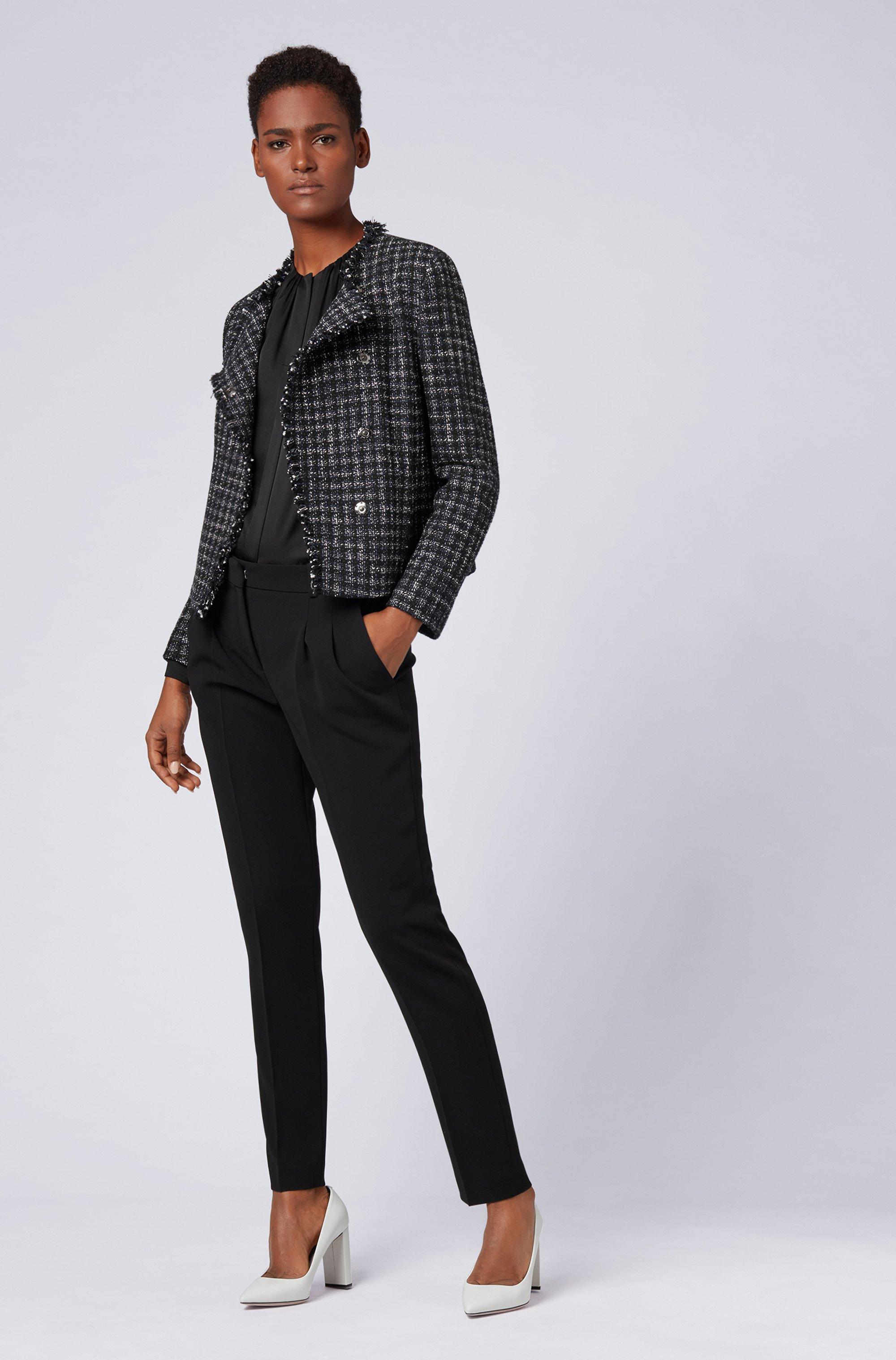 Regular-fit trousers in crease-resistant crepe