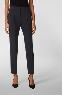 Regular-fit trousers in crease-resistant crepe, Black