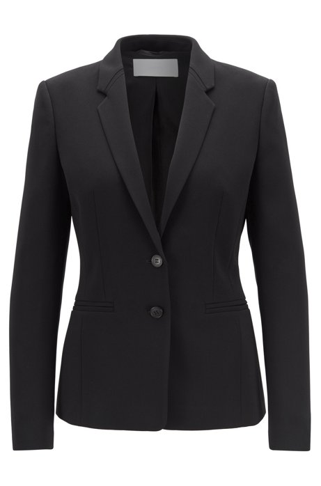 Regular-fit jacket in crease-resistant Japanese crepe, Black