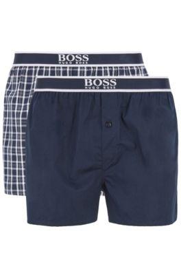 Paquete de dos shorts de pijama en popelín de algodón, Azul oscuro